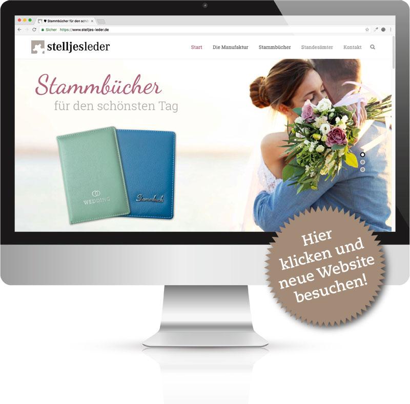 Computer mit der Stelljes Leder Website