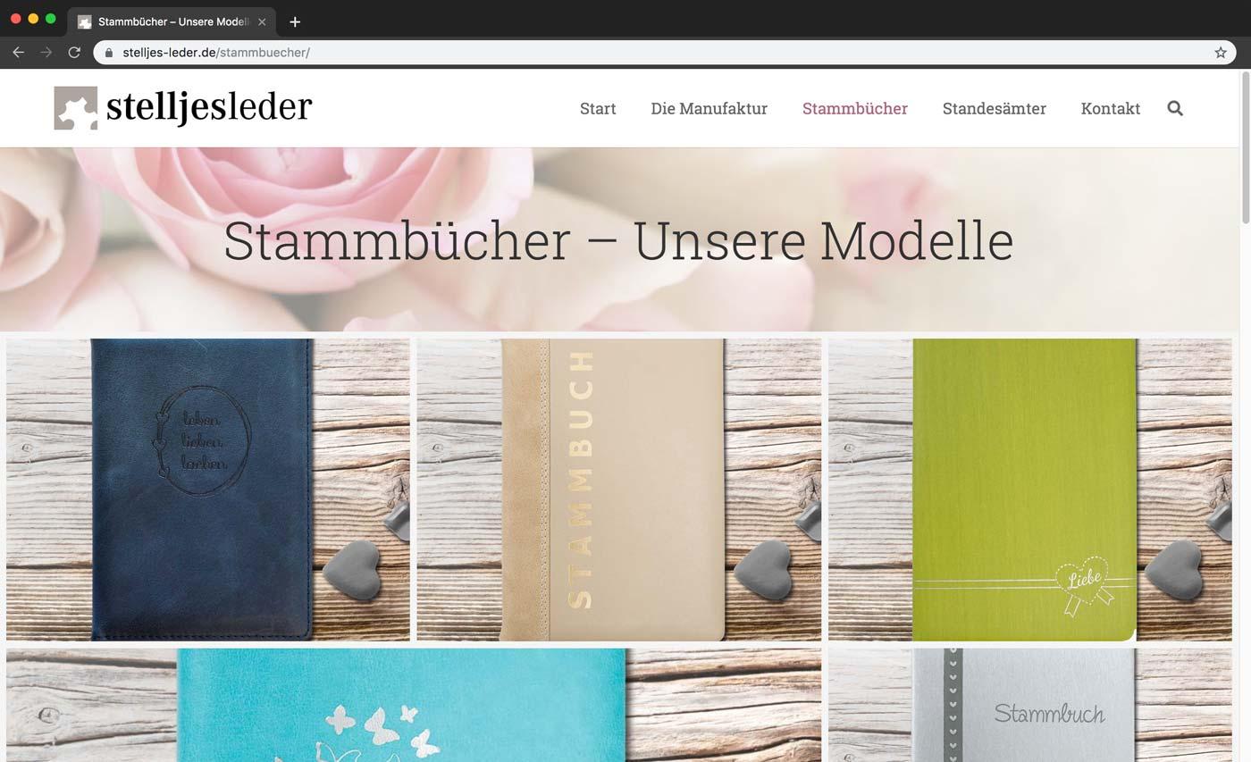 Stammbücher auf der Website von Stelljes Leder