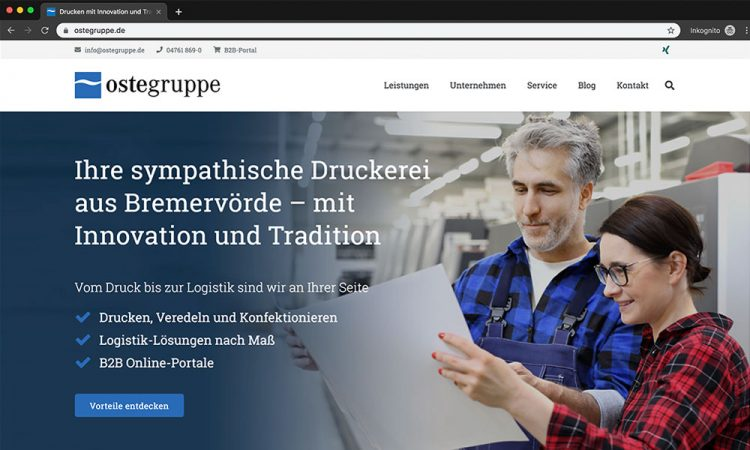 Screenshot der Website der Ostegruppe